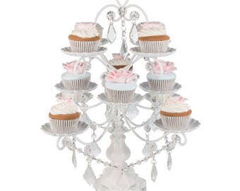 Chandelier Cupcake Stand with Glass Crystals, Crystal Draped, White, Wedding, Birthday, Princess Party by Pepperberry Market