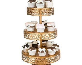 3 Tier Dessert Stand, Reversible Trays, Gold, Wedding, Birthday, Princess Party, Cake Stand by Pepperberry Market