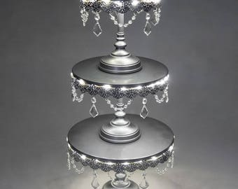 3-Piece LED Cake Stand Set, Lighted Cake Stand, Crystal Draped, Silver, Wedding, Birthday, Princess Party, Cake Stand by Pepperberry Market