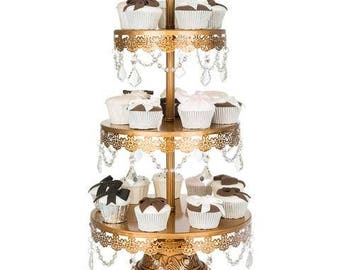 3 Tier Dessert Stand with Glass Crystals, Crystal Draped, Gold, Wedding, Birthday, Princess Party, Cake Stand by Pepperberry Market