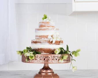 """Metal Trim Cake Stand, Rose Gold, Wedding, Birthday, Princess Party, 12"""" Dessert Stand by Pepperberry Market"""