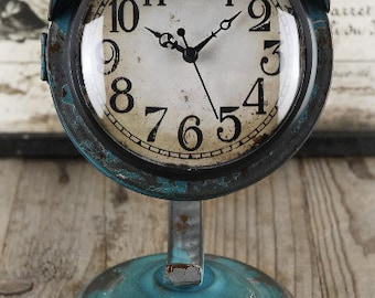 Retro Table Clock, Vintage Blue, Industrial, Chic, Urban, Modern, Rustic, Decor by Pepperberry Market