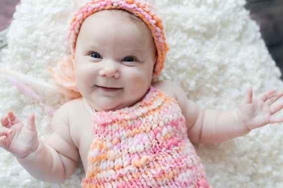 ad795b6262a0 KNIT PATTERN Handspun Basic Romper Newborn Photography Prop