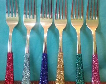 Bridal Silver Glitter Cutlery Wedding New Years Eve Christmas Baby Shower Birthday Silver Cutlery Tableware