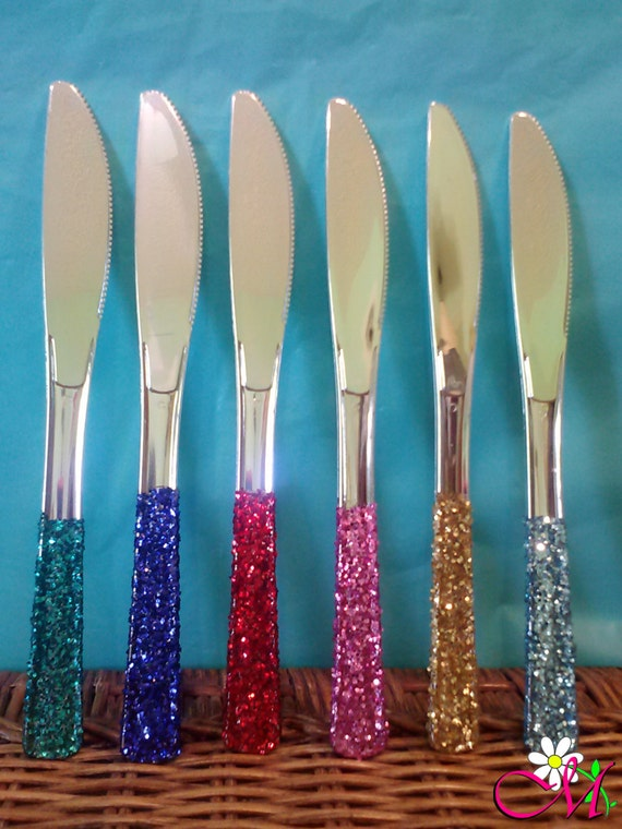Silver Plastic Knives, Glitter Handles, (Your Choice of Color), Glitter  Plasticware, Pink Plastic Knives, Gold Plastic Knives