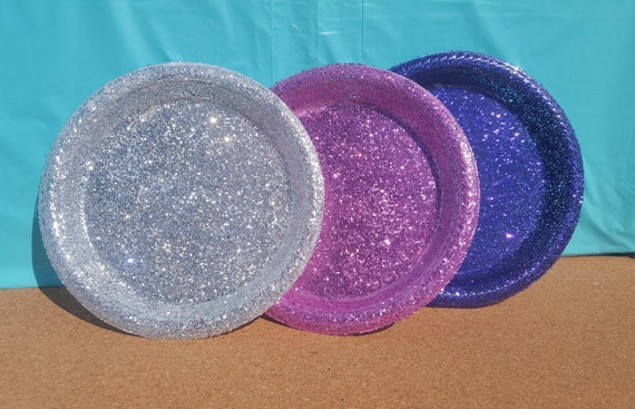 Glitter Plastic Dessert Plates Party Plates (Your Choice of Color) Pink Plastic Plates Glitter Plates Turquoise Plastic Plates from MaegensGlitzandGlam ... & Glitter Plastic Dessert Plates Party Plates (Your Choice of Color ...