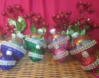 Glass Christmas Ball Ornaments Decorated with Glitter (Your Choice of Color)