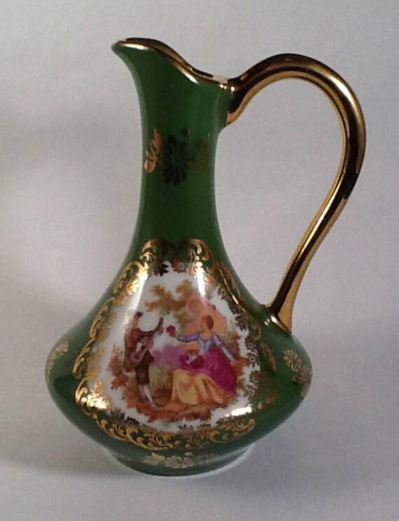 Vintage Bardet Limoges France Green Vasevintage French Bud Etsy