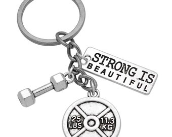 Barbell and Weights Keychain with Strong Is Beautiful Word tag Strong is beautiful Weights. Barbell Key Chain