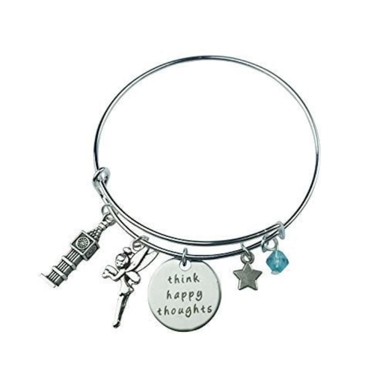 Art Attack Silvertone Think Happy Thoughts Big Ben Clock Fairy Dust Turquoise Bead Star Charm Expandable Bracelet