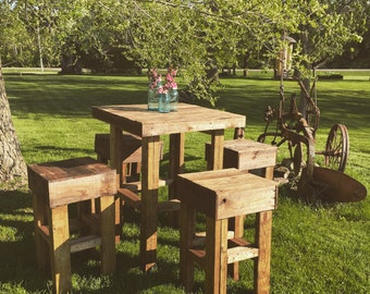 Wood Pallet Table and Stools (pick up option only)