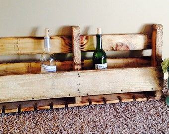 Wood pallet Wine Rack with Burnt Finish