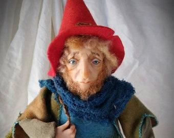 Pier the traveling gnome OOAK art doll figurative sculpture
