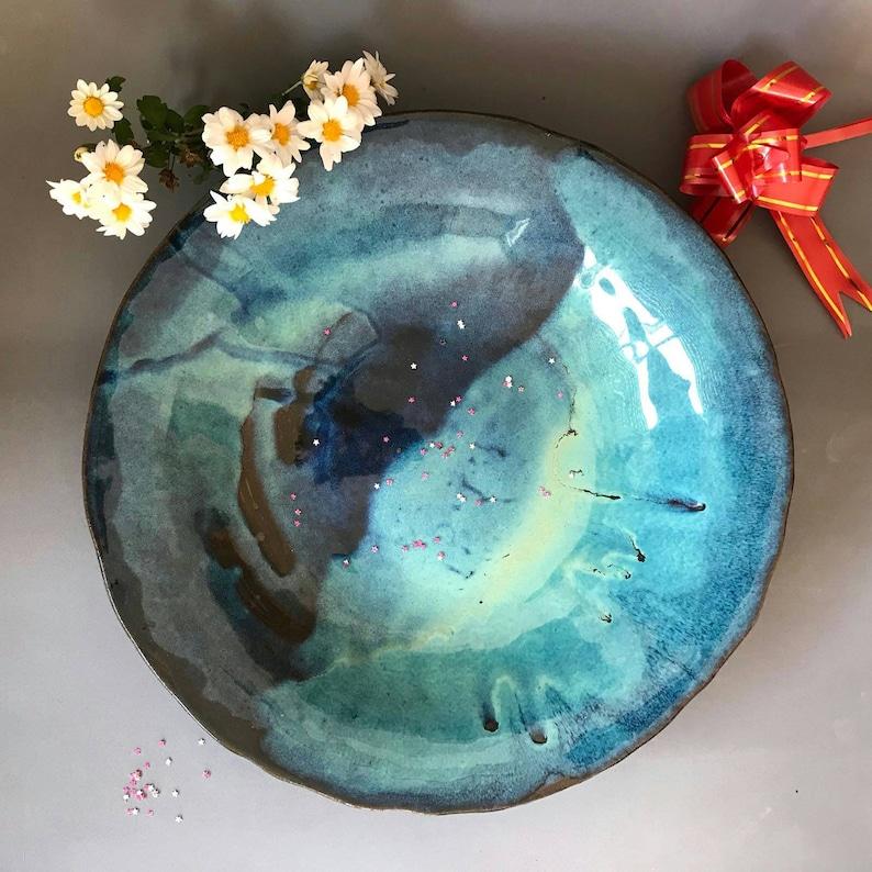Ceramic Bowl Large Pottery Bowl Blue Bowl Blue Ceramic image 0