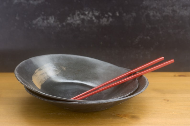 Ceramic Bowls Set of 2 Bowls Japan bowl Black Ceramic Bowl image 0
