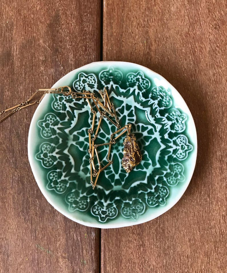 Textured Catchall Bowl Lace Texture Ceramic Jewelry Dish Green Textured Dish Ceramic Ring Dish Ceramic Catchall Pottery Ring Dish