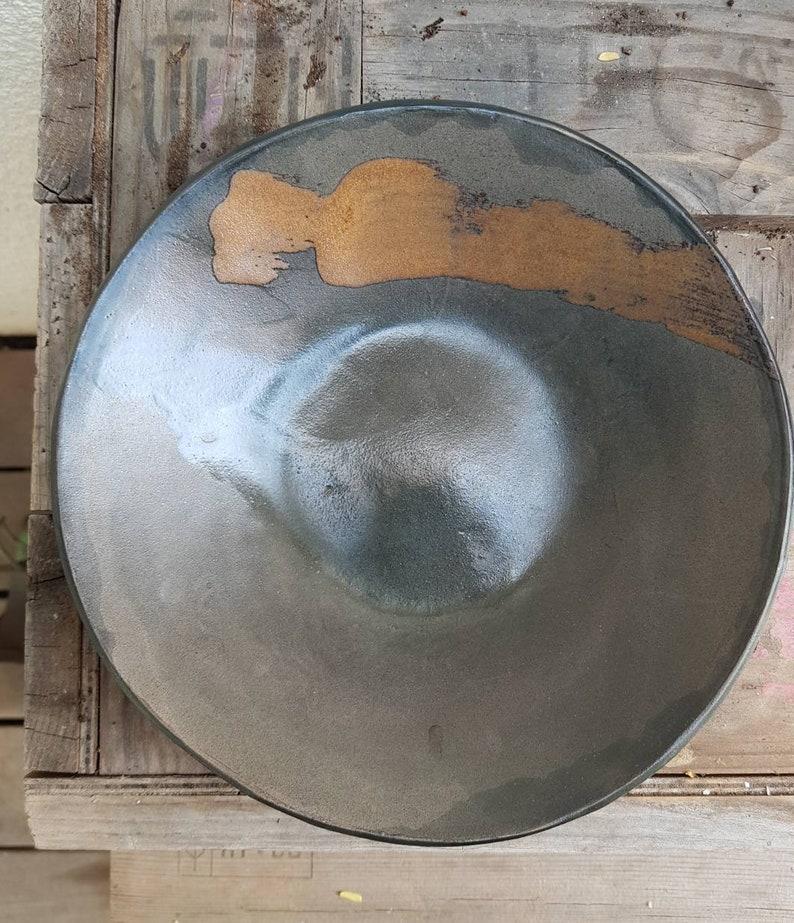 Ceramic Bowl Black Ceramic Bowl Pottery Serving Bowl image 0