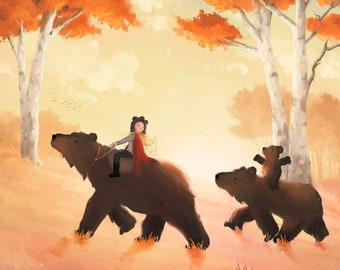1988 GoldiLocks and The Three Bears vintage themed print