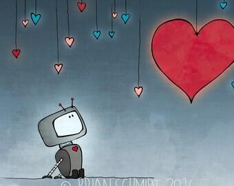 Robot Illustration - Hearts and Robot Art Print, Kids Room Decor, Nursery Print, Love Robot Art Gift