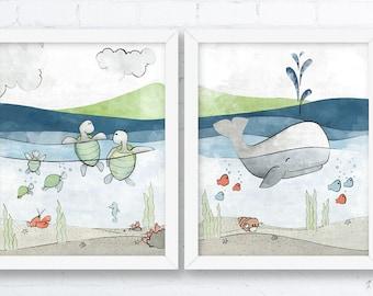 Whale and Turtles Nursery Art Print - Nautical Kids Room Decor