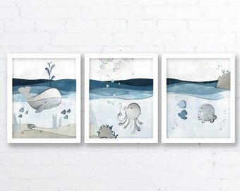 Exceptional Ocean Nursery Decor   Whale Nursery, Grey Blue Kids Room Art, Baby Fish Art  Print, Nautical Kids Wall Art, Nautical Baby Room Decor