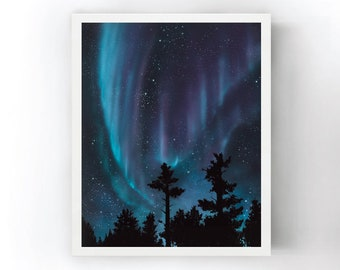 Space Northern Lights Night CANVAS WALL ART DECO LARGE READY TO HANG all sizes