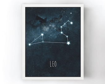 Leo Constellation Art Print, Stars Room Decor, Zodiac Wall Art, Night Sky Watercolor, Starry Night