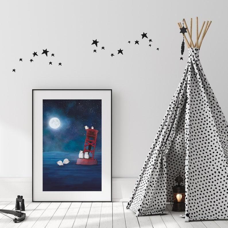 Resting on a Buoy Penguins and Seals Art Print Arctic Animal Art Print