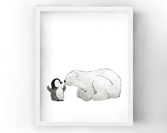 Penguin and Polar Bear Eskimo Kiss - Nursery Art Print for Kids Room