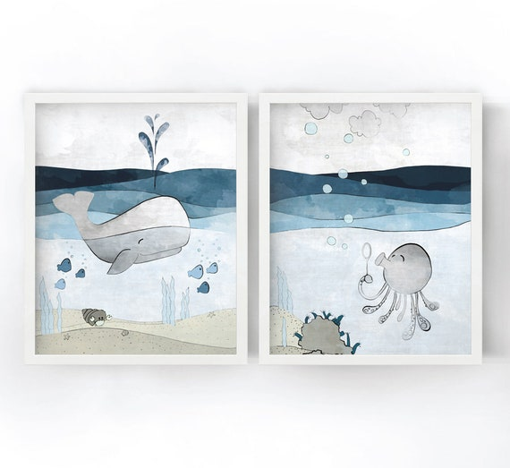 whale and octopus art print nautical kids room decor navy etsy rh etsy com Nautical Home Decor Nautical Theme Classroom