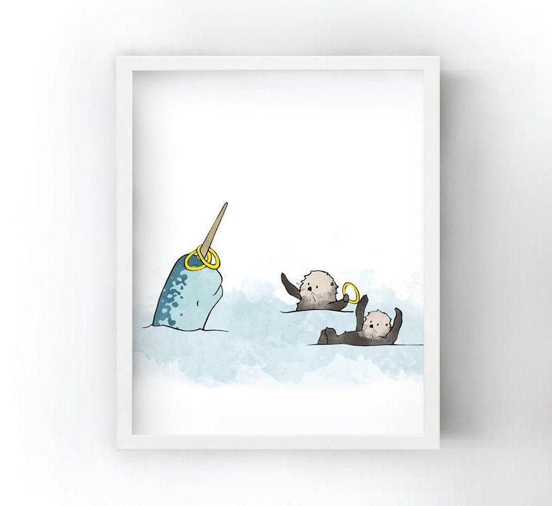 Sea Otters Art Print - Narwhal and Sea Otter Arctic Animals Kids Room  Decor, Ocean Nursery Art