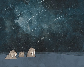 Walrus Family Art Print - Night Sky Nursery Decor, Arctic Animals, Watercolor Kids Room Wall Art