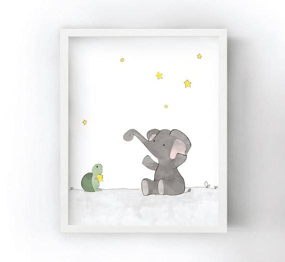 Baby Elefant Kinderzimmer Dekor Elefant Und Sterne Etsy