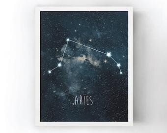 Aries Constellation Art Print, Stars Room Decor, Zodiac Wall Art, Night Sky Watercolor, Starry Night