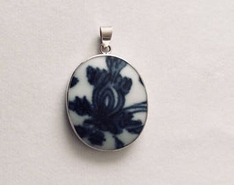 Blue and White Pomegranate Motif Pottery Shard Pendant in Sterling Silver