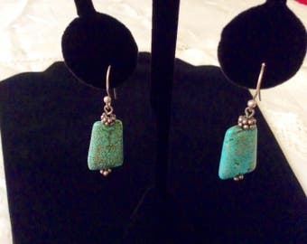 Dangling Sterling Silver and Turquoise Earrings