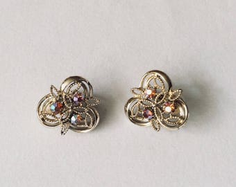 80s Vintage Trefoil Clip-on Rhinestone Earrings