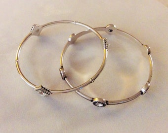 Pair of Brighton Silvertone and Swarovski Crystal Bangle Bracelets