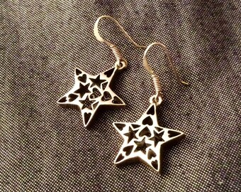 90s Vintage Sterling Silver Heart and Star Filigree Earrings