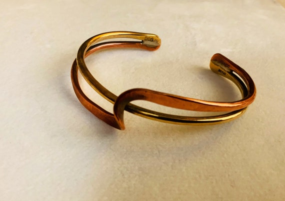 Mothers Day Gift for Her 70s Boho BRASS Jewelry Brutalist Copper and Brass Bangle Handmade Jewelry INDUSTRIAL Abstract Open Cuff Bangle