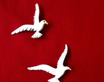 Pair of Vintage Enamel Seagull Pins