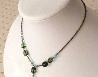 Blue and Green Lariat Necklace