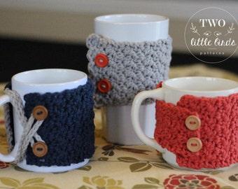 Crochet Pattern, crochet mug cozy pattern, crochet cozy pattern, pattern includes 3 variations, customizable to your own mug, MARLOWE COZY