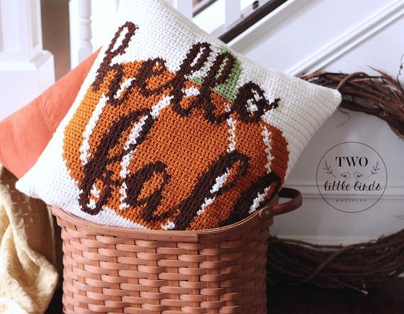 Autumn Crochet Pattern For Pillow Cover Crochet Pumpkin Pillow Etsy