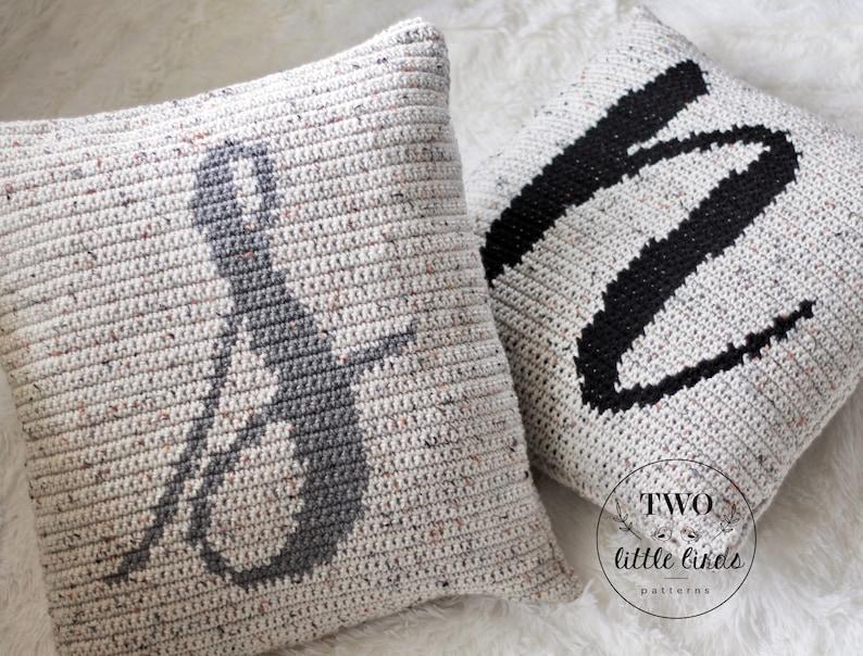 Crochet monogram pillow pattern personalized crochet home image 0