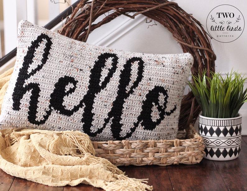 Crochet pillow cover pattern crochet hello pillow tutorial image 0