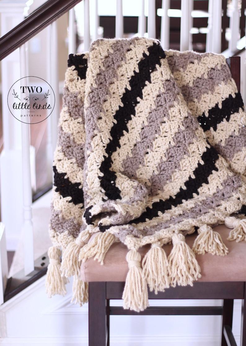 Crochet Blanket Pattern Easy Crochet Blanket Tutorial Throw Etsy