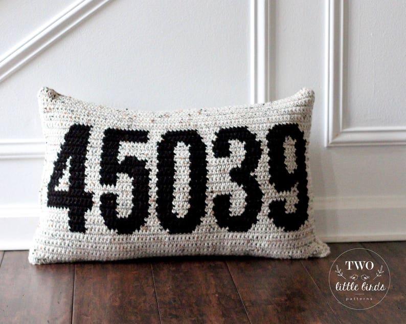 Crochet Zip code pillow pattern crochet throw pillow image 0