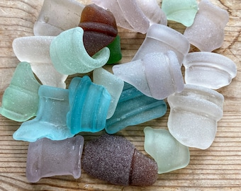 2 Pieces frosted Matte Sea Glass Finish Cultured Beach Sea Glass 25x13mm End Drilled YOU PICK COLOR Bottle Lip Beads