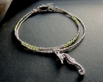 Sea Horse Two Strand Peridot and Silver Bracelet August Birthstone Bracelet